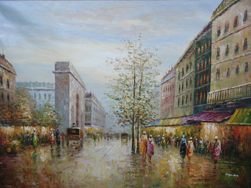 Beautiful large painting, stretched but without frame, by Legendre.  People walk under colorful building awnings across from the Arc de Triumph.