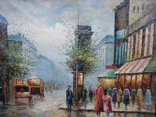 Beautiful large painting, stretched but without frame, by Legendre.  Woman in colorful coats walk along illuminated shops on a dreary day in the city.