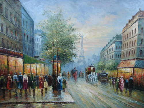 Beautiful large painting, stretched but without frame, by Legendre.  The Eiffel Tower sits in the background of a busy Paris street filled with people and horse drawn carriages.