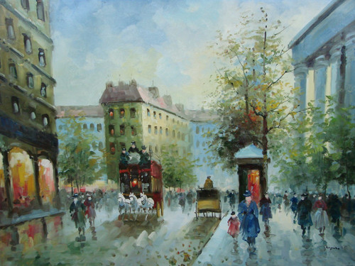 Beautiful large painting, stretched but without frame, by Legendre.  A large red carriage is pulled by a team of white horses down a city street filled with people and trees.