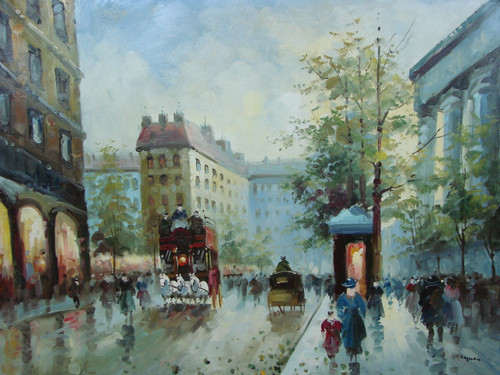 Beautiful large painting, stretched but without frame, by Legendre.  Tall buildings surround streets filled with people and horse drawn carriages.