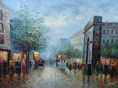 Beautiful large painting, stretched but without frame, by Legendre.  People gather near the Arc de Triumph as white horses pulling a large carriage pass through the city street.