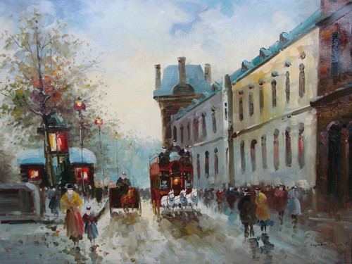 Beautiful large painting, stretched but without frame, by Legendre.  Horse-drawn carriages go down a city street filled with people.