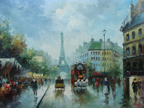Beautiful large painting, stretched but without frame, by Legendre.  The Eiffel Tower sits in the background off a busy Paris street filled with people.