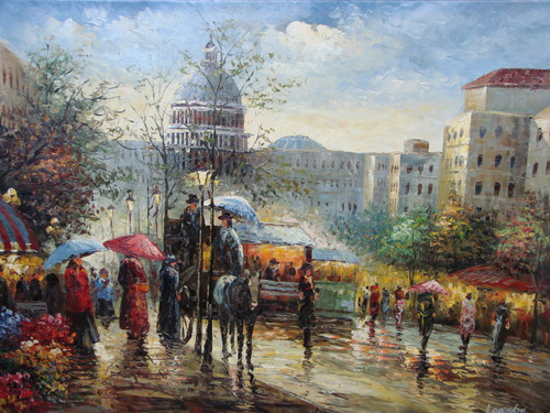 Beautiful large painting, stretched but without frame, by Legendre.  People carrying umbrellas line the city streets of Paris.