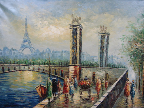 Beautiful large painting, stretched but without frame, by Legendre.  The Eiffel Tower sits behind a stone bridge surrounded by people and stone columns.