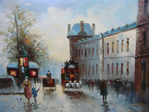 Beautiful large painting, stretched but without frame, by Legendre.  Horse-drawn carriages fill a street lined with people in Paris.