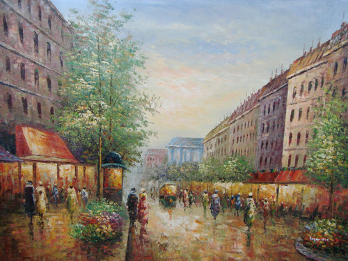 Beautiful large painting, stretched but without frame, by Legendre.  Buildings with colorful awnings line a Paris street filled with people and green trees.