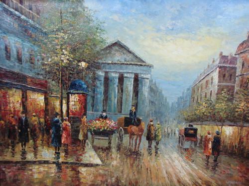 Beautiful large painting, stretched but without frame, by Legendre.  Carriages and individuals fill a street of old buildings in Paris.