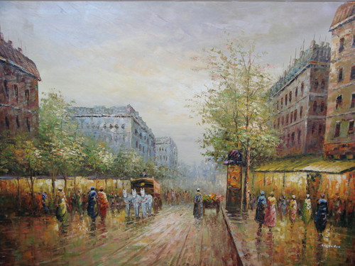 Beautiful large painting, stretched but without frame, by Legendre.  City streets lined with leafy trees and people are illuminated by building lights.