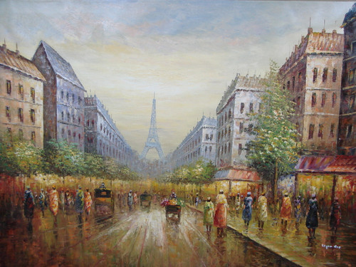 Beautiful large painting, stretched but without frame, by Legendre.  The Eiffel Tower sits in the background of a busy street lined with trees and old buildings.