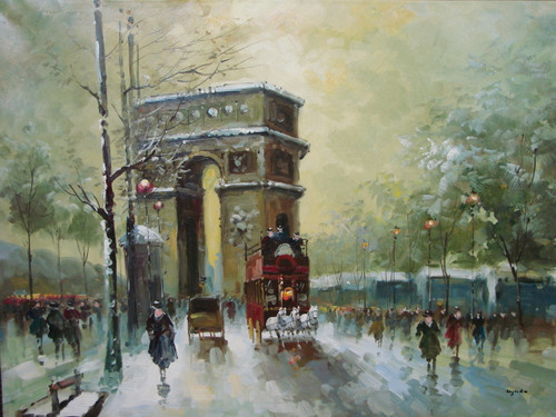 Beautiful large painting, stretched but without frame, by Legendre.  The Arc de Triumph is surrounded by snow covered trees, people and carriages.