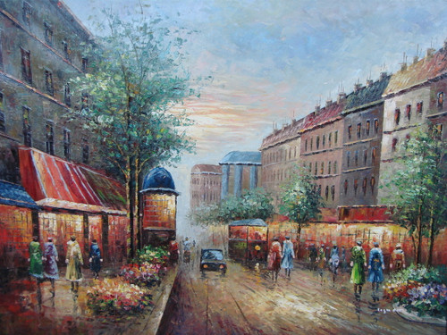 Beautiful large painting, stretched but without frame, by Legendre.  Trees and flowering shrubs line the street illuminated by shop lights as pedestrians walk by.