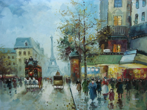 Beautiful large painting, stretched but without frame, by Legendre.  People fill a street corner outside an old building as evening falls on the city, with the Eiffel Tower in the background.