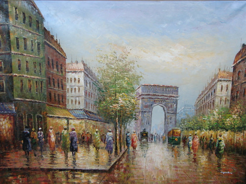 Beautiful large painting, stretched but without frame,  by Legendre.  Green trees and old, multistory buildings line a street filled with people near the Arc de Triumph.