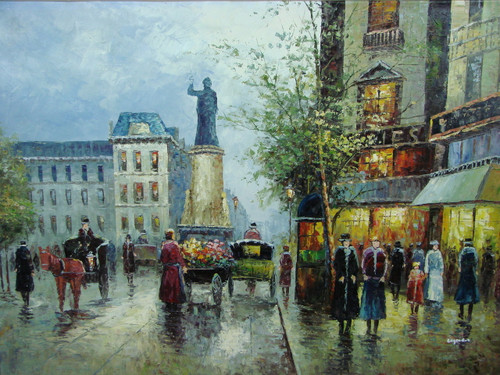Beautiful large painting, stretched but without frame, by Legendre.  A large statue stands in the center of a busy Paris street.
