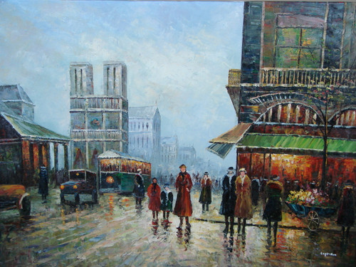 Beautiful large painting, stretched but without frame, by Legendre.  Cars, trolleys and people fill streets of Paris.