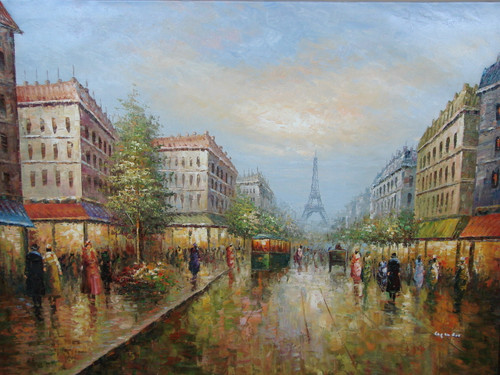 Beautiful large painting, stretched but without frame, by Legendre.  Old buildings line a street filled with people and green trolleys with the Eiffel Tower in the distance.