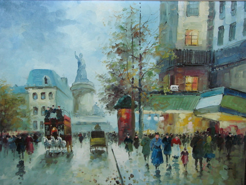 Beautiful large painting, stretched but without frame, by Legendre.  People gather on the streets under green awnings near a monument.