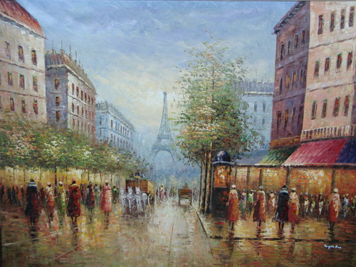 Beautiful large painting, stretched but without frame, by Legendre.  The Eiffel Tower sits in the distance at the end of a street filled with people and horse-drawn carriages.