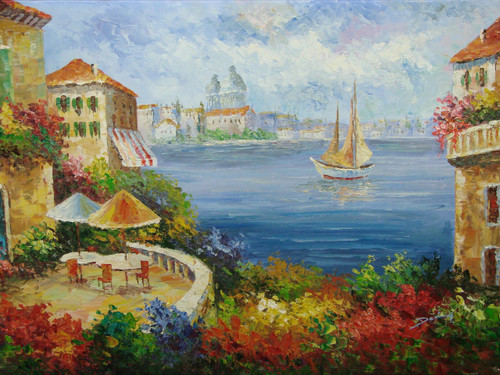 Beautiful medium sized painting, stretched but without frame, by Damini.  Pink, yellow and blue flowers surround tan villas overlooking a sailboat in blue water.