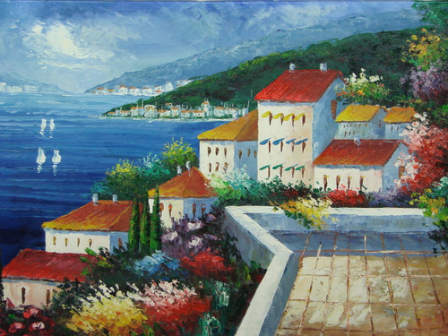 Beautiful medium sized painting, stretched but without frame, by Damini.  A wide stone path lined with colorful flowers, winds through villas with red and orange roofs near the blue sea.
