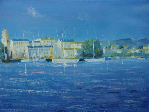 Beautiful medium sized painting, stretched but without frame, by Grenon.  Sailboats line the light blue water of a coastline with large buildings in the background.