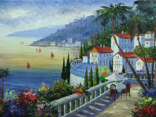 Beautiful medium sized painting, stretched but without frame, by Damini.  Villas, surrounded by palm trees and flowering hedges, line the shoreline of a sea reflecting the setting sun.