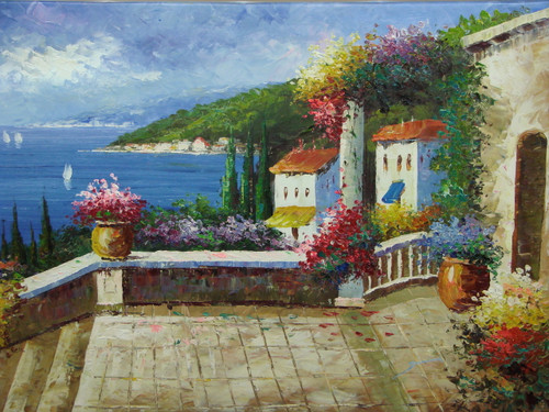 Beautiful medium sized painting, stretched but without frame, by Damini.  Purple and pink flowers line a staircase that connects villas to the deep blue sea below.