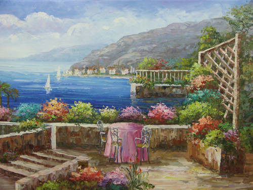 Beautiful medium sized painting, stretched but without frame, by Damini.  A table draped in pink surrounded by pink, purple, orange and teal flowers overlooks deep blue water, sailboats and villas.