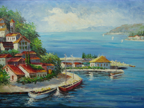Beautiful medium sized painting, stretched but without frame, by Damini.  A green hillside lined with villas overlooks boats in a light blue sea.