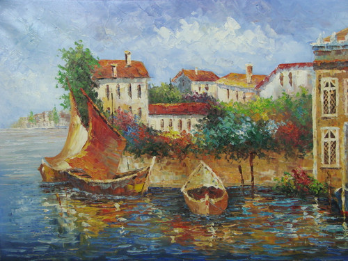 Beautiful medium sized painting, stretched but without frame, by Jaster.  Golden brown sailboats and a rowboat are docked outside a coastal town lined with colorful, flowering hedges and villas.