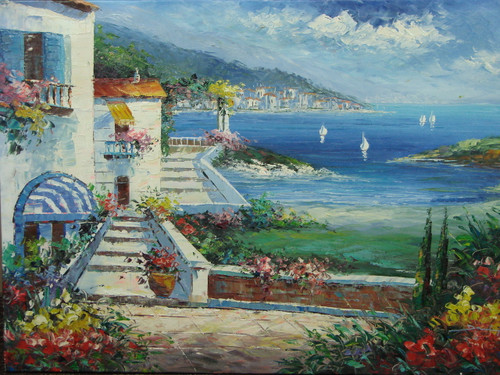 Beautiful medium sized painting, stretched but without frame, by Damini.  Sailboats leave a coastal city filled with white villas and red, yellow and pink flowering shrubs.