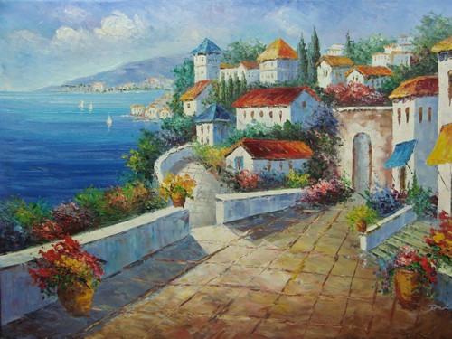 Beautiful medium sized painting, stretched but without frame, by Damini.  A wide stone path lined with colorful flowers, winds through villas with red and blue roofs near the blue sea.