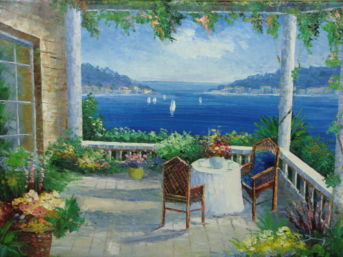 Beautiful medium sized painting, stretched but without frame, by Damini.  A table for two sits under a portico covered in ivy and yellow and pink flowers, overlooking sailboats in the deep blue sea below.