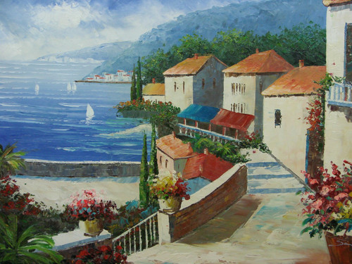 Beautiful medium sized painting, stretched but without frame, by Damini.  A stone staircase connects a row of beige villas to the blue sea below, surrounded by green trees and colorful flowers.