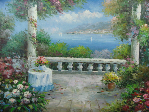 Beautiful medium sized painting, stretched but without frame, by Damini.  A large stone patio with white columns is covered in blooming ivy, fern, and potted yellow and pink flowers.