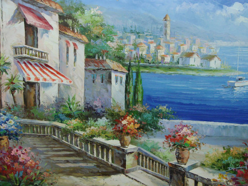 Beautiful medium sized painting, stretched but without frame, by Damini.  Flower lined stairs connect villas to the bright blue sea below that contains a large sailboat.