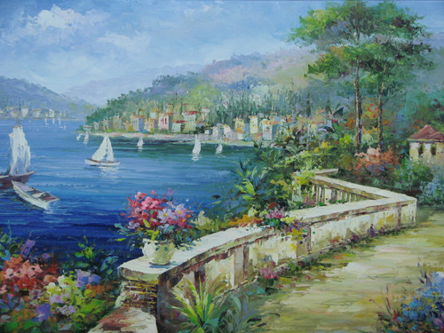Beautiful medium sized painting, stretched but without frame, by Damini.  Sailboats in calm blue water meet a colorful coastline of villas, flowers, and trees.