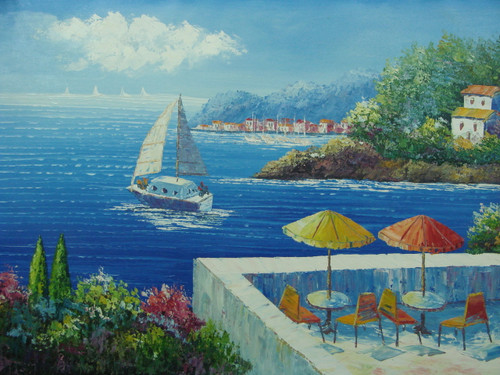 Beautiful medium sized painting, stretched but without frame, unsigned,  Tables with colorful umbrellas overlook the bright blue sea below with a large sailboat.