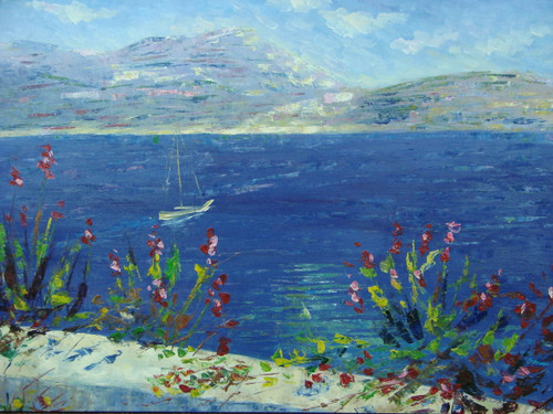 Beautiful medium sized painting, stretched but without frame, by Grenon.  A stone wall with red flowers overlooks dark blue water with a sailboat headed towards rolling hills.