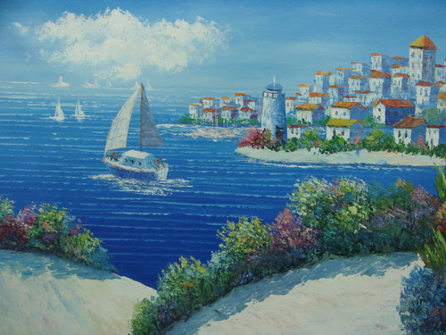 Beautiful medium sized painting, stretched but without frame, by Damini.  A Mediterranean hillside covered in flowering bushes overlooks deep blue water filled with sailboats and a coastline of white villas.