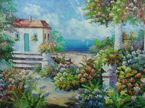 Beautiful medium sized painting, stretched but without frame, by Scott.  A small villa is surrounded by lavender, yellow and orange flowers, green ferns and a sandy beach overlooking the blue sea.