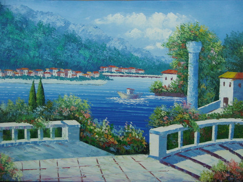 Beautiful medium sized painting, stretched but without frame, by Damini.  A white stone staircase, lined with flowering hedges, leads down to the bright blue water surrounded by a coastline filled with white villas.