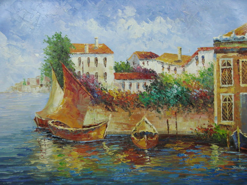 Beautiful medium sized painting, stretched but without frame, by Jaster.  Wooden sailboats with golden brown sails are docked by a wall lined with colorful flowers and villas.