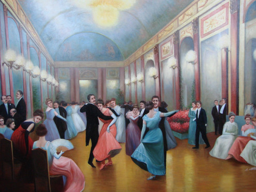 Beautiful large painting, stretched but without frame, by H. Chatal.  A large ballroom is filled with couples dancing in formal dresses and suits.