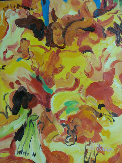 Abstract medium sized painting, stretched but without frame,  by R. Mitchell.  Orange, red, yellow and brown brush strokes are mixed together on the canvas.