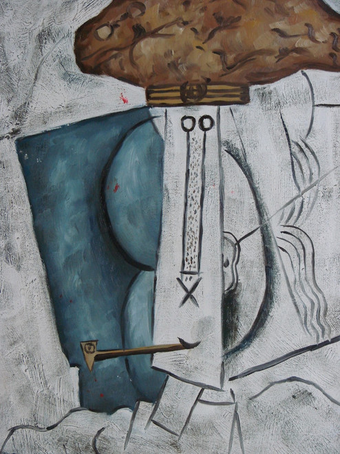 Abstract medium sized painting, stretched but without frame, by Emilio Pinto.  An abstract figure has a brown hat and pipe with blue and black accents on the canvas.