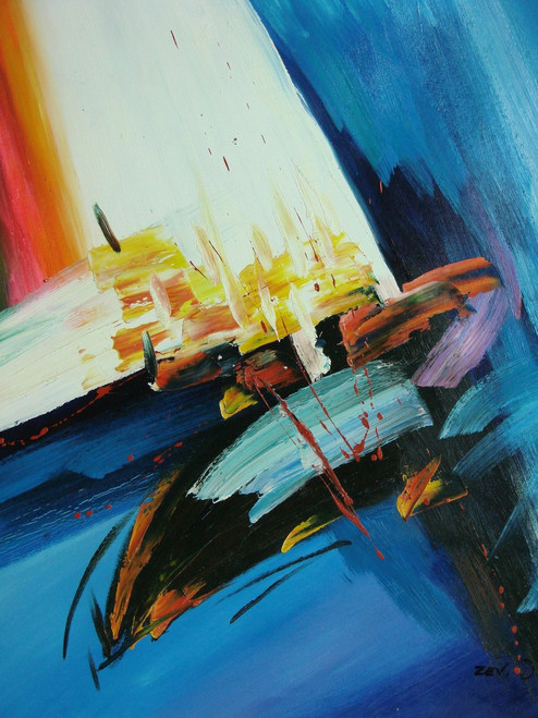 Abstract medium sized painting, stretched but without frame,  by Zev D..  Wide blue, white and black brush strokes are accented with light red and yellow strokes in the center of the painting.