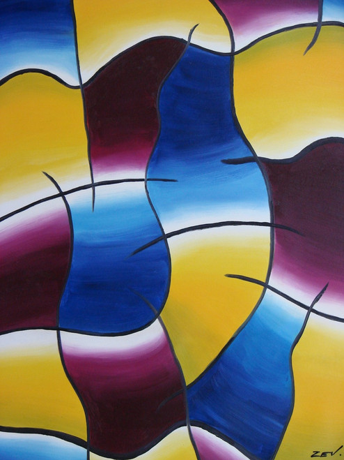 Abstract medium sized painting, stretched but without frame,  by Zev J..  Blue, purple and yellow abstract squares are highlighted with black and white lines in a repeating pattern.